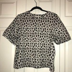Leopard print short sleeve sweatshirt